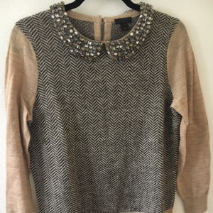 J. Crew Collection jeweled collar sweater